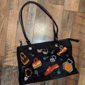 VINTAGE BRIGHTON ACCESSORY THEMED EMBROIDERED BAG